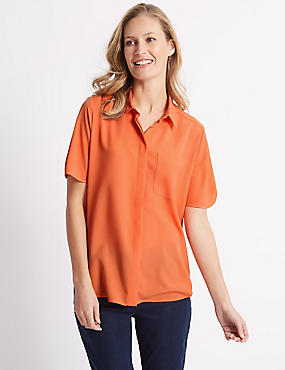 Crepe Half Sleeve Shirt , ORANGE, catlanding