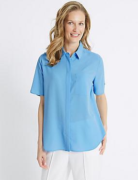 Crepe Half Sleeve Shirt , SKY BLUE, catlanding