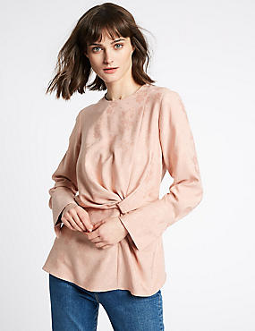 Jacquard Print Knotted Long Sleeve Blouse, PINK, catlanding