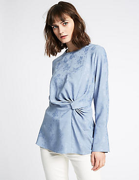 Jacquard Print Knotted Long Sleeve Blouse, BLUE, catlanding