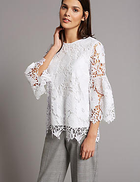 Lace Round Neck 3/4 Sleeve Blouse, WHITE, catlanding