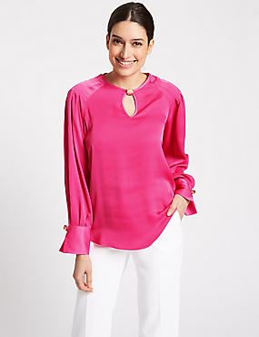 Satin Round Neck Long Sleeve Blouse