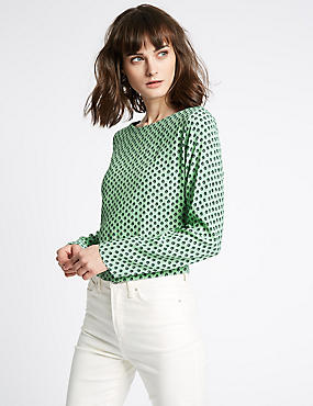 Round Neck Long Sleeve Blouse , GREEN MIX, catlanding