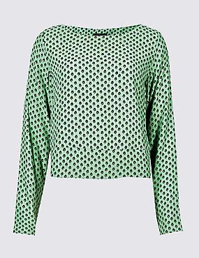 Round Neck Long Sleeve Blouse , GREEN MIX, catlanding