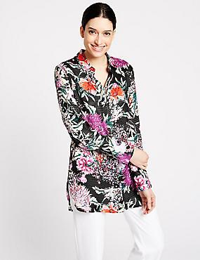 Floral Print Long Sleeve Longline Shirt, BLACK MIX, catlanding