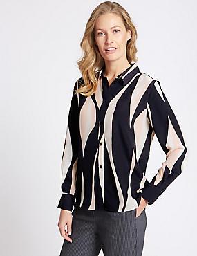 Printed Long Sleeve Crepe Shirt, NAVY MIX, catlanding