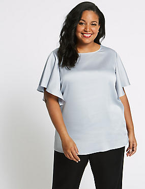 CURVE Round Neck Ruffle Sleeve Satin Blouse, SILVER, catlanding