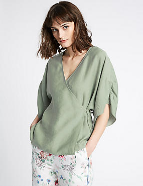 V-Neck 3/4 Sleeve Wrap Top, GREEN, catlanding