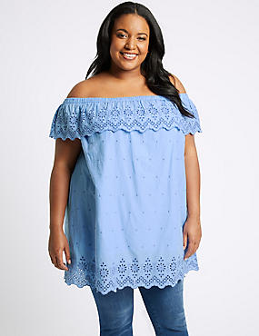 CURVE Pure Cotton Embroidered Bardot Top, BLUEBELL, catlanding