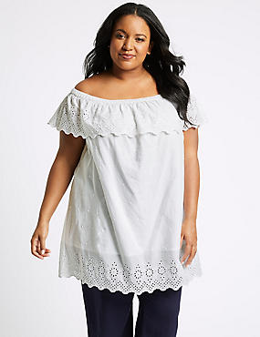 CURVE Pure Cotton Embroidered Bardot Top, SOFT WHITE, catlanding