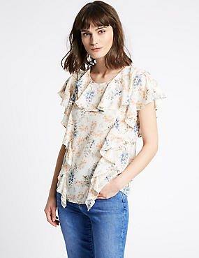 Floral Print Ruffle Round Neck Shell Top , IVORY MIX, catlanding