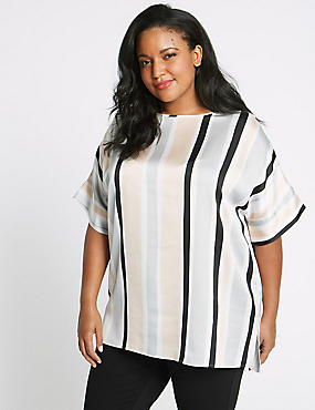 CURVE Striped Round Neck Short Sleeve Blouse