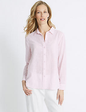 Pure Cotton Embroidered Long Sleeve Shirt, PALE PINK, catlanding