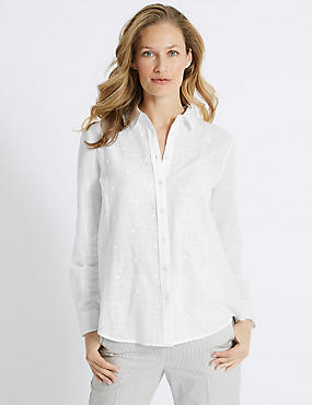Pure Cotton Embroidered Long Sleeve Shirt, WHITE, catlanding