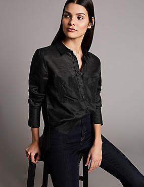 Ramie Pocket Detail Long Sleeve Shirt, BLACK, catlanding