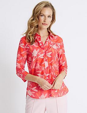 Cotton Rich Floral Print Shirt with Silk, PINK MIX, catlanding
