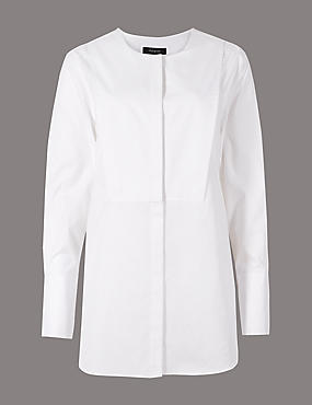 Pure Cotton Round Neck Long Sleeve Shirt , SOFT WHITE, catlanding