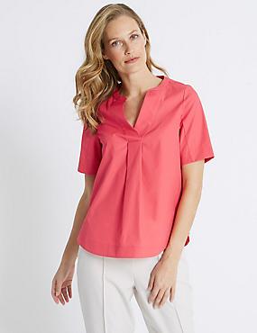 Pure Cotton Notch Neck Half Sleeve Tunic, HOT PINK, catlanding