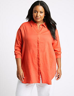CURVES Pure Linen 3/4 Sleeve Shirt, CORAL, catlanding