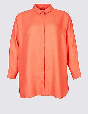 CURVES Pure Linen 3/4 Sleeve Shirt, CORAL, catlanding