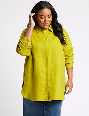 CURVES Pure Linen 3/4 Sleeve Shirt, LIME, catlanding