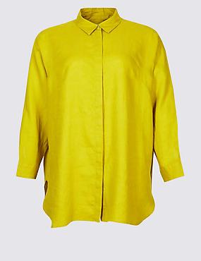 CURVES Pure Linen 3/4 Sleeve Shirt, LIME, catlanding