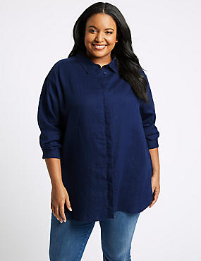 CURVES Pure Linen 3/4 Sleeve Shirt, NAVY, catlanding