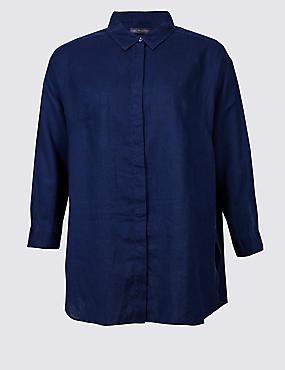 CURVES Pure Linen 3/4 Sleeve Shirt, NAVY, catlanding