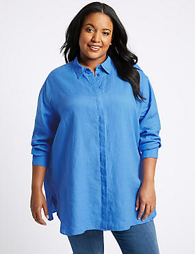 CURVES Pure Linen 3/4 Sleeve Shirt, BLUEBELL, catlanding