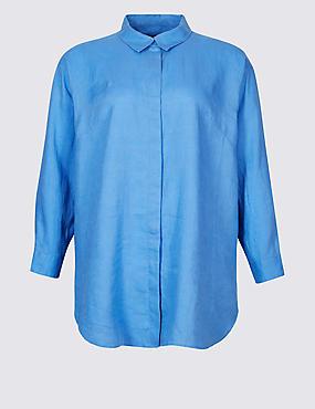 CURVES Pure Linen 3/4 Sleeve Shirt, BLUEBELL, catlanding