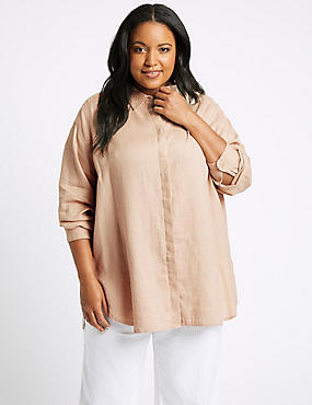 CURVES Pure Linen 3/4 Sleeve Shirt, NEUTRAL, catlanding