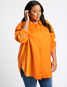 CURVES Pure Linen 3/4 Sleeve Shirt, ORANGE, catlanding