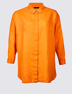 CURVES Pure Linen 3/4 Sleeve Shirt, ORANGE, catlanding