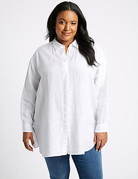 CURVES Pure Linen 3/4 Sleeve Shirt, SOFT WHITE, catlanding