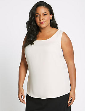 CURVE Round Neck Camisole Top, CREAM, catlanding