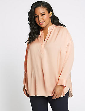 CURVE Satin Notch Neck Long Sleeve Blouse