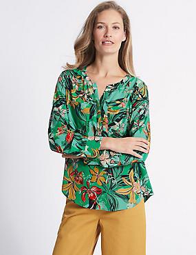 Floral Print Notch Neck Long Sleeve Blouse , JADE MIX, catlanding