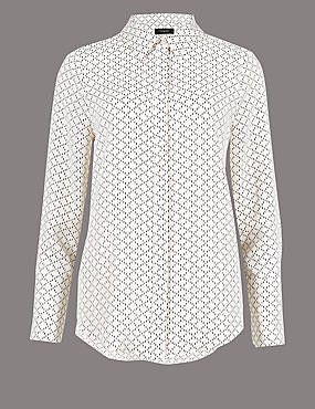 Printed Long Sleeve Shirt , CREAM MIX, catlanding