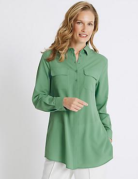 Double Pocket Longline Long Sleeve Shirt, SOFT GREEN, catlanding