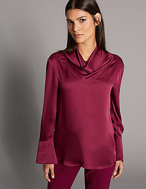 Cowl Neck Long Sleeve Blouse