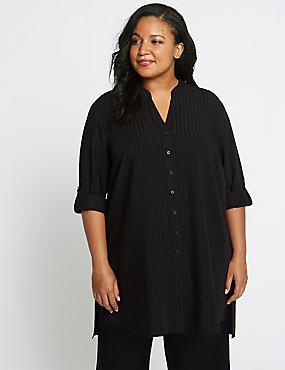 CURVE Striped Longline Long Sleeve Shirt, BLACK STRIPE, catlanding