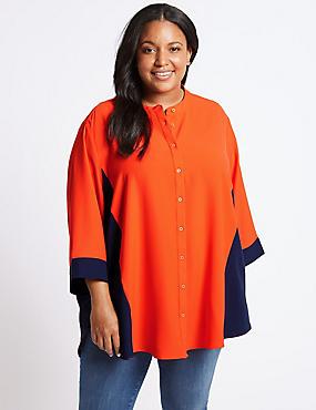 CURVE Colour Block 3/4 Sleeve Shirt, ORANGE, catlanding