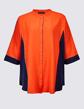 CURVE Colour Block 3/4 Sleeve Shirt, ORANGE, catlanding