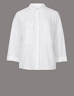 Pure Silk 3/4 Sleeve Shirt , SOFT WHITE, catlanding