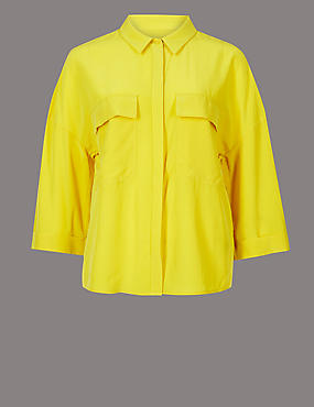 Pure Silk 3/4 Sleeve Shirt , YELLOW, catlanding