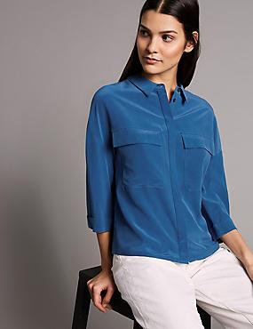 Pure Silk 3/4 Sleeve Shirt , MARINE, catlanding