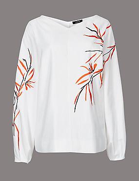 Embroidered V-Neck Long Sleeve Blouse , CHAMPAGNE, catlanding