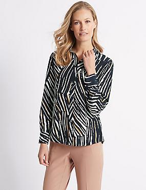 Animal Print Long Sleeve Shirt , BROWN MIX, catlanding
