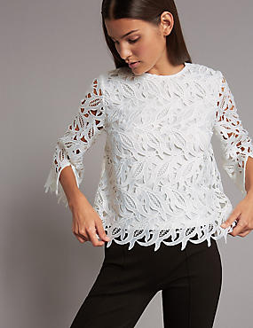Lace Round Neck 3/4 Sleeve Shell Top