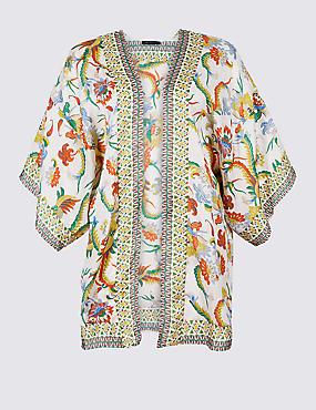 CURVE Printed 3/4 Sleeve Kimono , CREAM MIX, catlanding